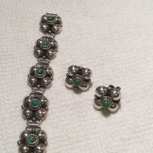 STUNNING Mexico Sterling Bracelet & Earrings Set